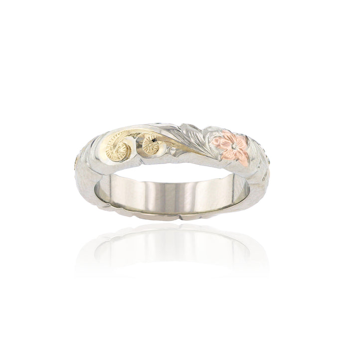 Tri-Color Scalloped Haku Lei 4mm Ring - Philip Rickard