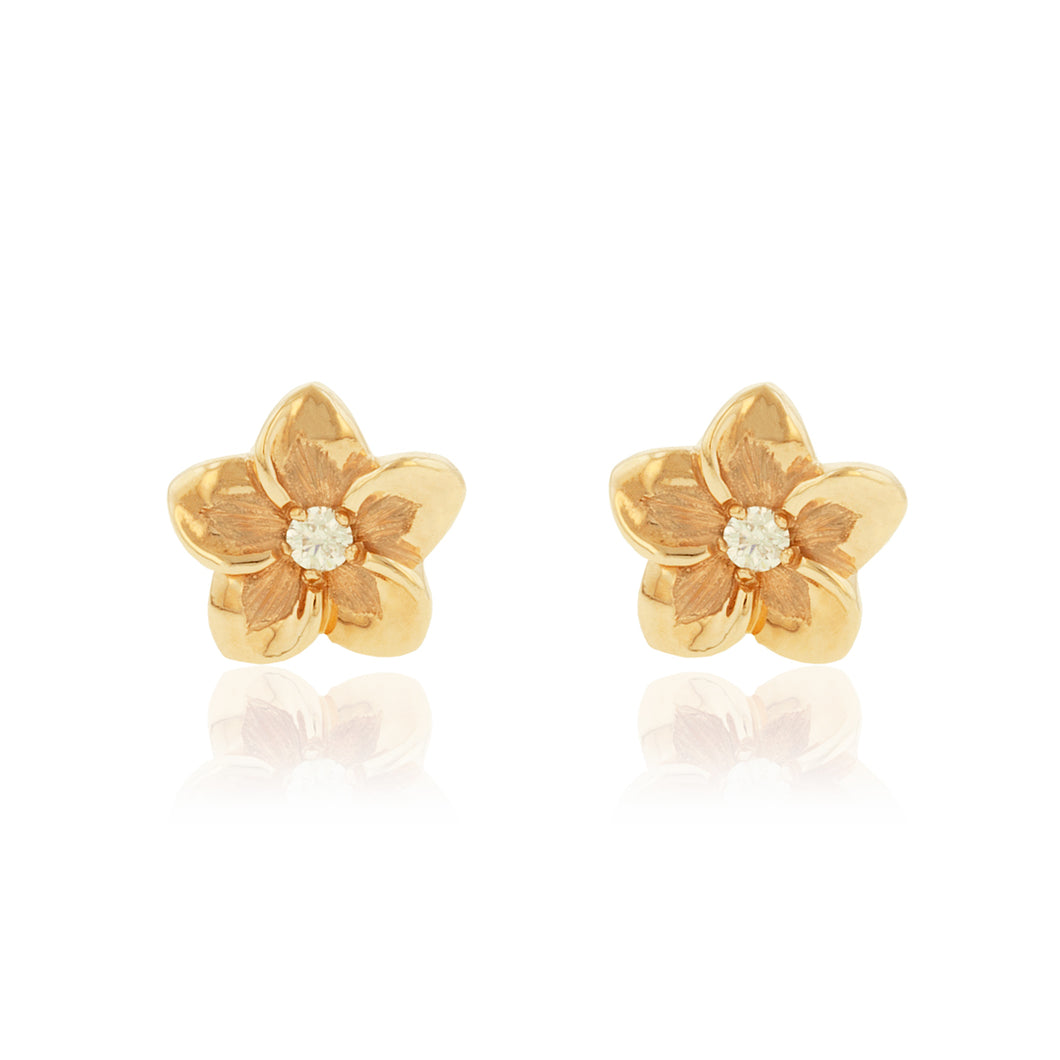 Medium Plumeria Earrings w/ Diamonds - Philip Rickard