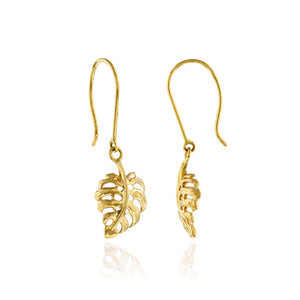 Small Monstera Leaf Earrings - Philip Rickard