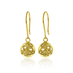 Round Filigree Dangle Earrings - Philip Rickard