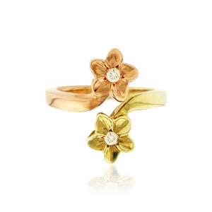 Double Plumeria Ring W/ Diamonds - Philip Rickard