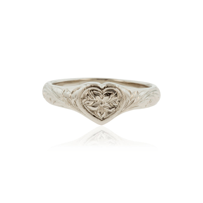 Heart Ring w/ Old English Design and Hibiscus Flower - Philip Rickard