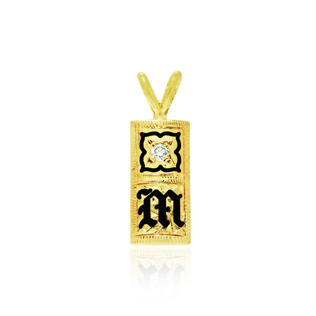 Initial 8mm Pendant W/ Enamel Flower & Diamond - Philip Rickard