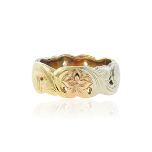 Pukalani Tri-Color 8mm Ring - Philip Rickard