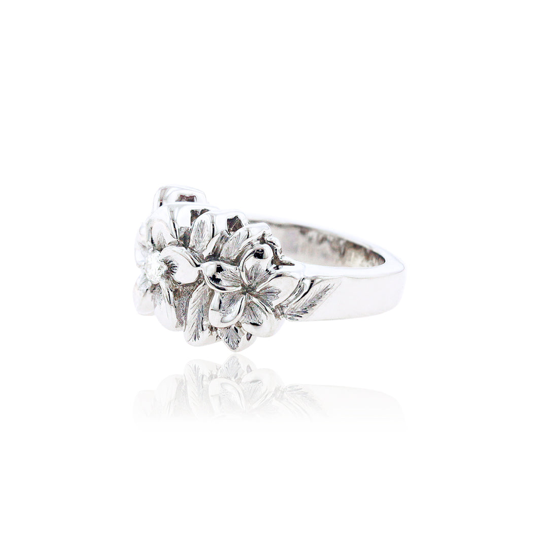 Three Plumeria Ring w/ Diamond - Philip Rickard