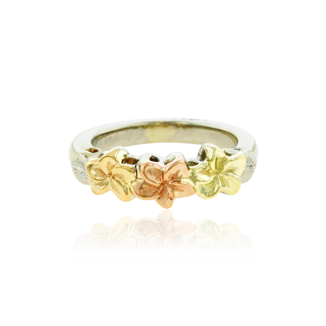 Multicolor Three Plumeria Ring - Philip Rickard
