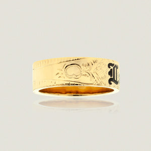 Hawaiian Heirloom 8mm Flat Ring w/ 'Lukila' in black enamel - Philip Rickard