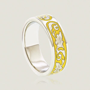 Ali'i 6mm Flat Ring w/ Plumeria flower and Old English design in yellow enamel - Philip Rickard
