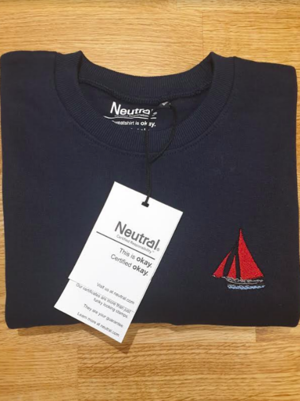 80% Organic Fair trade cotton. 20% Recycled Polyester Galway Hooker Embroidered Workwear Sweatshirt in collaboration with Bádori an Claddagh. Premium sweatshirt, Local, Organic and Sustainable.