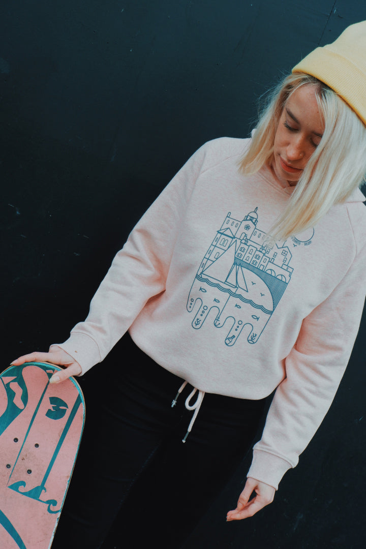 Pink & Cream Heather, Super soft, cropped hoodie with bow tie at waist, printed with Spanish Arch Waterways Artist Print... Organic and sustainable.