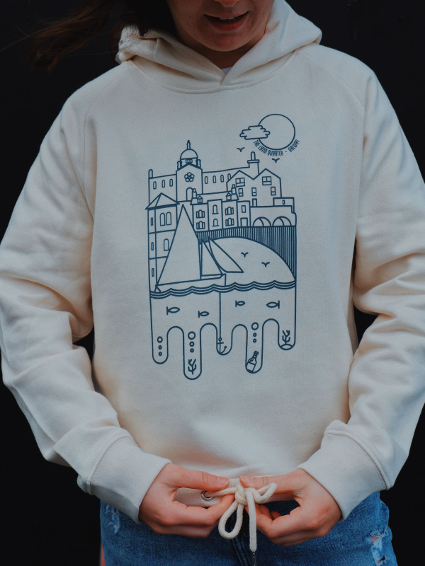 Girls Latin Quarter Hooded sweatshirt, Natural raw Super soft, cropped hoodie with bow tie at waist, printed with Spanish Arch Waterways Artist Print... by Niall Warde. Organic and sustainable. Comfy fit, super cosy