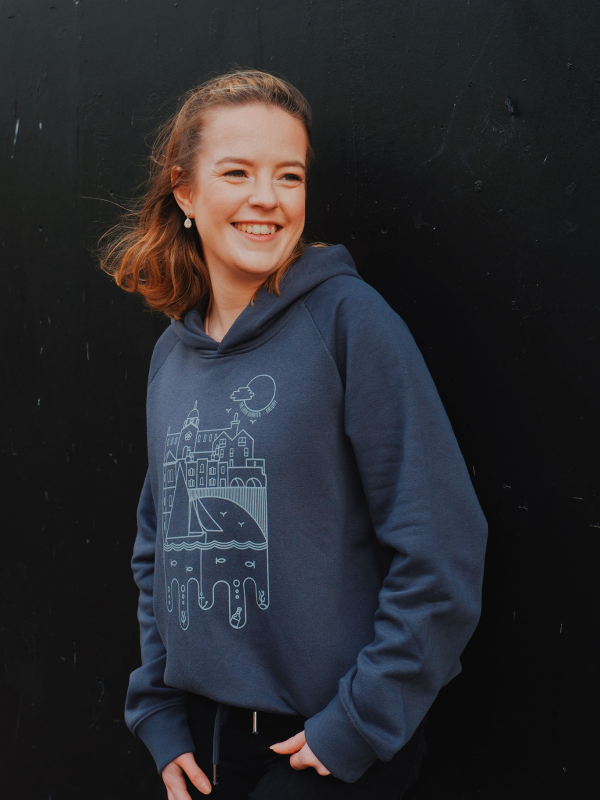 Girls Latin Quarter Galway Hooded sweatshirt. 100% organic cotton fair trade India Ink grey, Super soft, cropped hoodie with bow tie at waist, printed with Spanish Arch Waterways Artist Print... by Niall Warde. Local, Organic and responsible