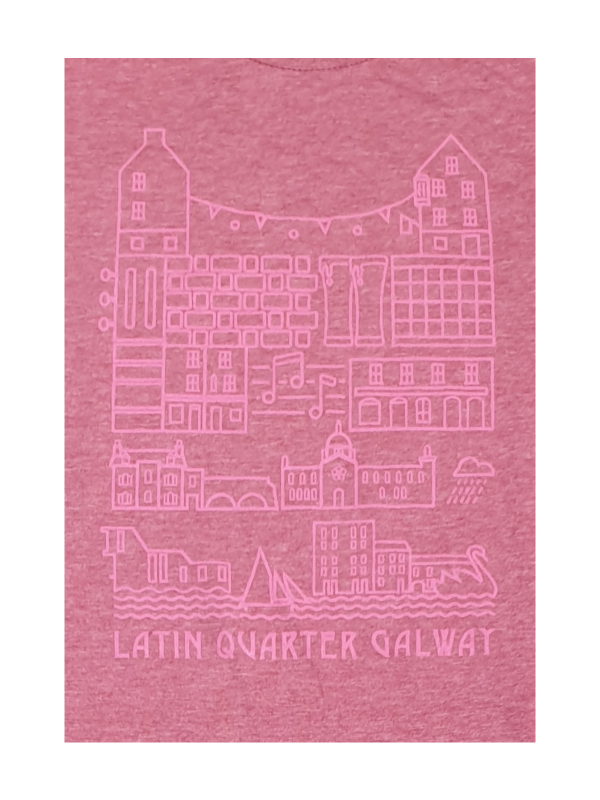 Artist print of the Latin Quarter Galway, featuring the atmosphere from the crossroads at Ti Neachtain to kicking the wall at the prom. The cobbled streets, the music and the Quays, the much loved restored design home that is Coffeewerk & Press, and positive energy as you stroll down to the old museum at Spanish Arch, a chance of rain along the waterways and out to the Bay taking in the iconic views of Galway hookers by the Long Walk, & swan sanctuary and breathe in the sea air.