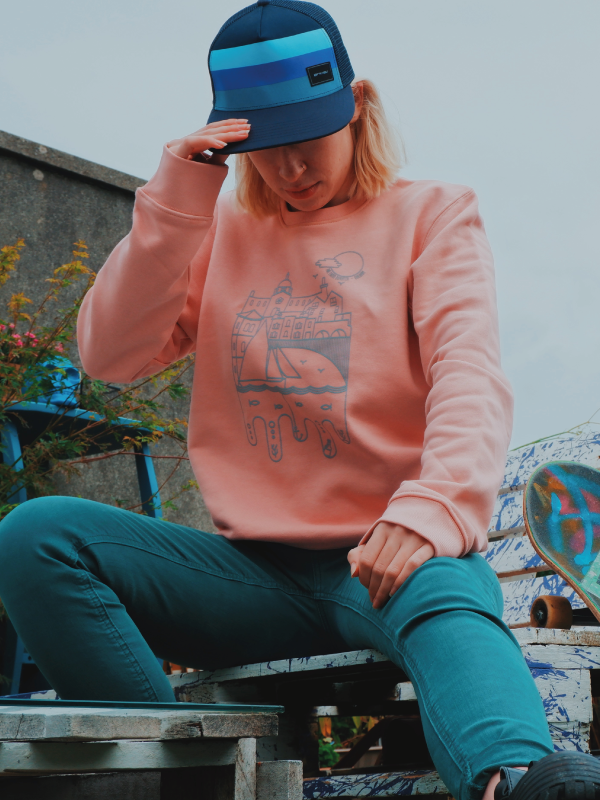 Spanish Arch Crew Neck Sweat - Dusty Pink