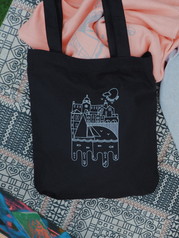 Woven sustainable tote bag with local artist designed print of the Spanish Arch & Latin Quarter.  Design by Niall Warde
