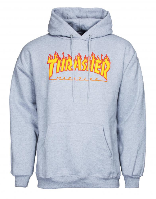 Thrasher flame hood - Grey Heather