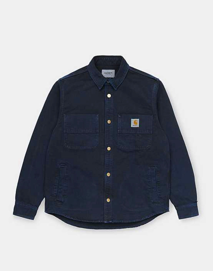 The Glenn Shirt Jac 100% Organic Cotton 'Dearborn' Canvas in Dark Navy worn canvas
