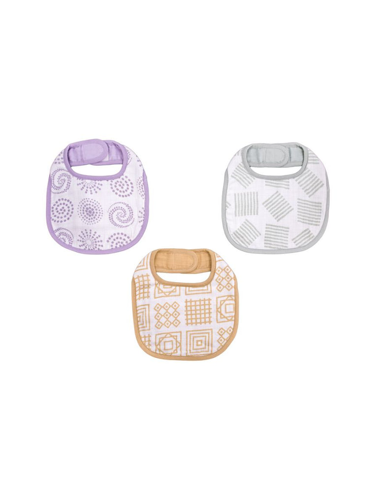 Kaarpas Premium Organic Cotton Muslin Bibs with Charming Pattern, Pack of 3, Large