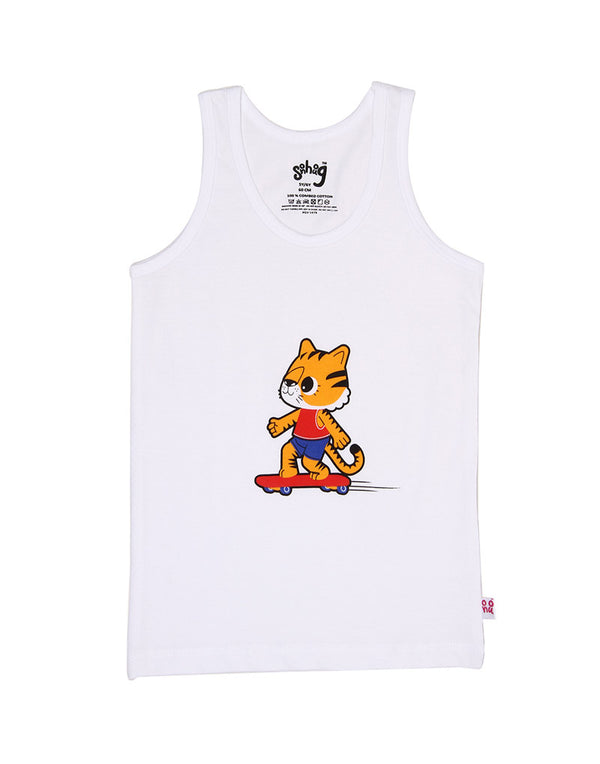 Snhug Sleeveless Pack Of 3 Outdoor Play Game Theme Vest - White