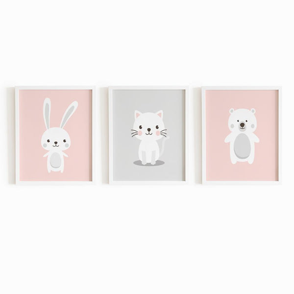 Baby Animal Frames Set - Pink (Set of 3)