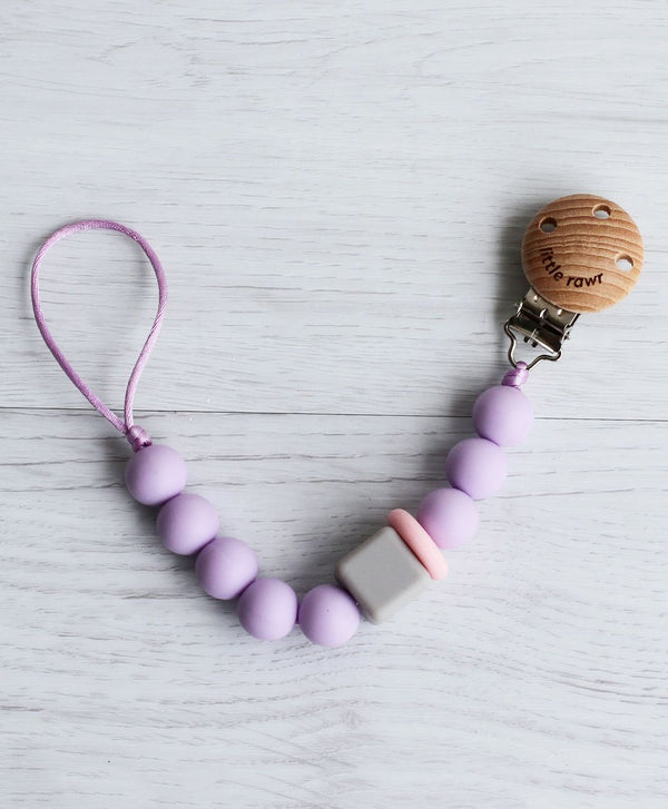 Silicone Pacifinder Beads with Clip Holder - Lavender