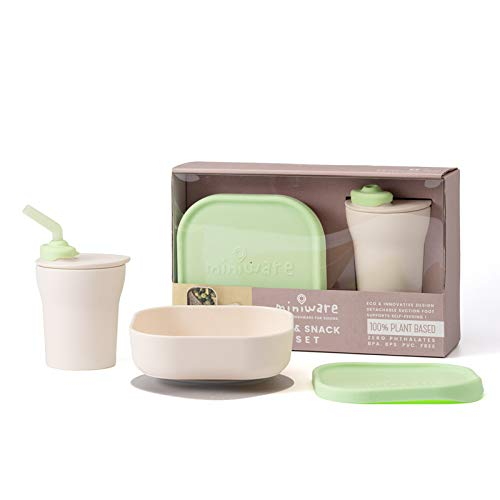Miniware Sip & Snack- Suction Bowl with Sippy Cup Feeding Set Vanilla/Lime