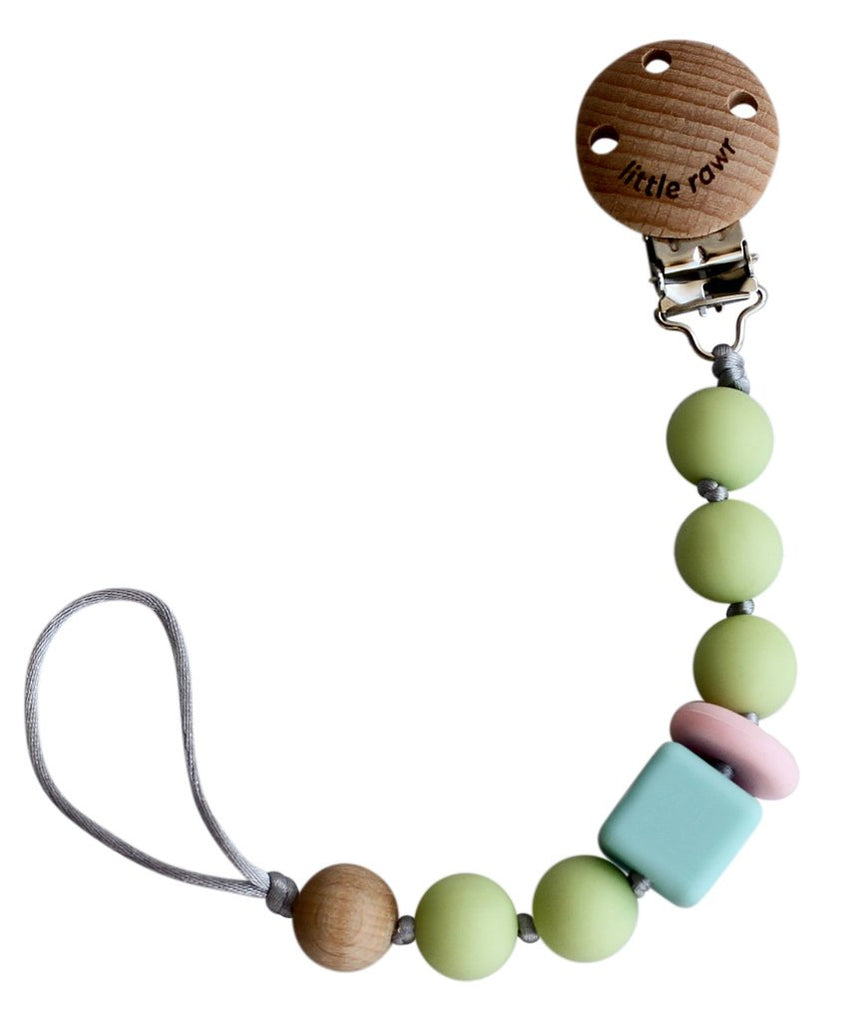 Silicone Pacifinder Beads with Clip Holder - Green
