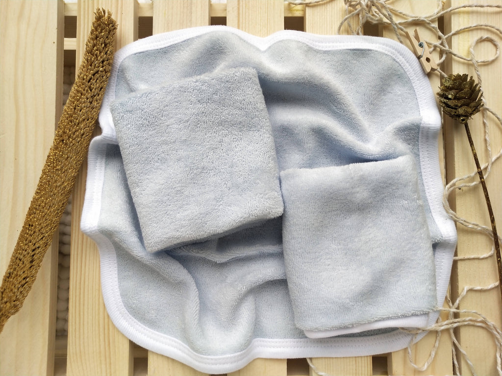 100% Organic Cotton Wash Cloth / Face Towel Set (Pack of 3) - Blue