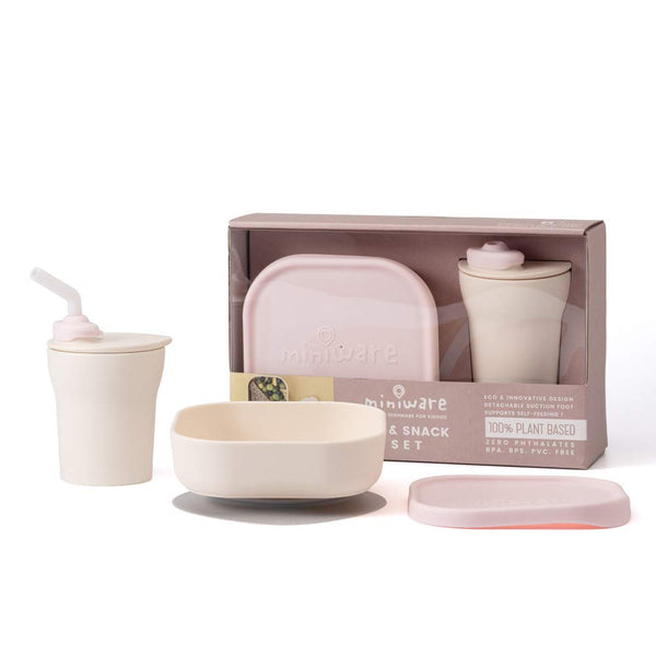 Miniware Sip & Snack- Suction Bowl with Sippy Cup Feeding Set Vanilla/Cotton Candy