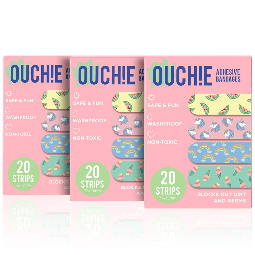 Ouchie Non-Toxic Printed Bandages COMBO Set of 3 (3 x 20 = 60 Pack) - (PINK)