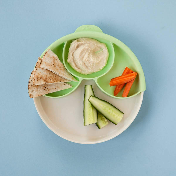 Miniware Healthy Meal Suction Plate with Dividers Set Vanilla/Key Lime