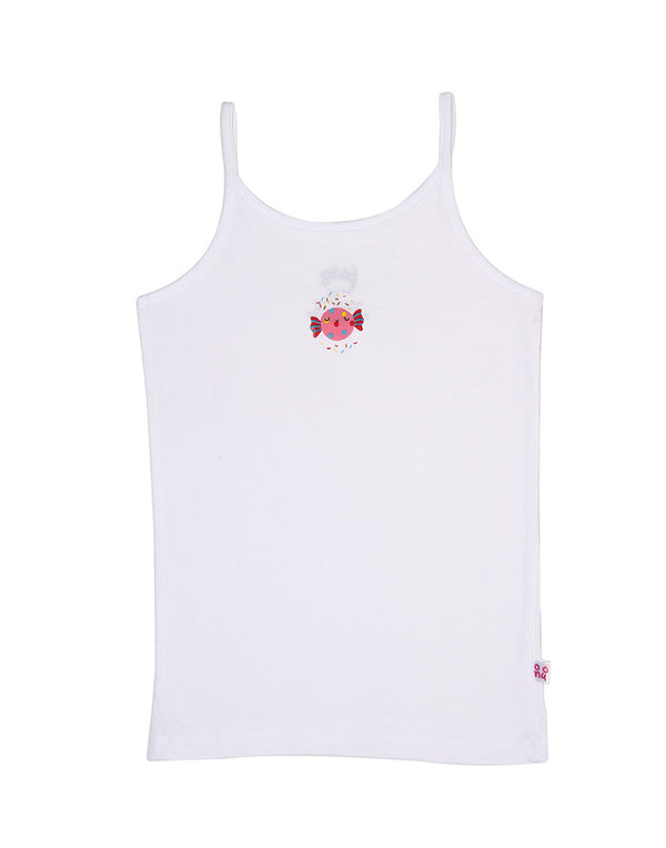 Snhug Pack Of 3 Candy Theme Sleeveless SInglet - White