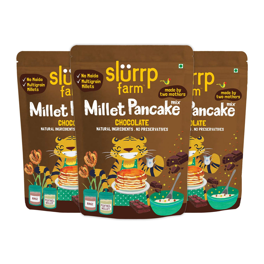 Slurrp Farm No Maida Instant Millet Pancake Mix, Chocolate and Supergrains, Natural and Healthy Food, 150g (Pack of 3)