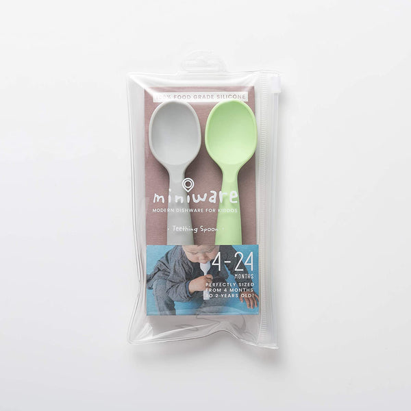 Miniware Teething Spoon Set Grey+Lime