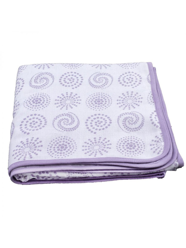 Premium Organic Cotton Muslin 2 Layered Quilt Baby Blanket with Charming Patterns of Circle (Both Side Printed with same design), Medium
