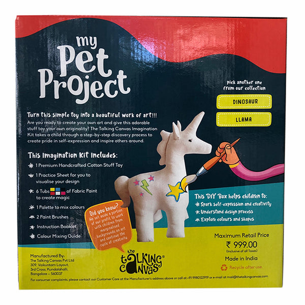 The Talking Canvas My Pet Project Unicorn | DIY Stuffed Toy Painting Kit for Kids |Family Arts and Crafts Paint Activity