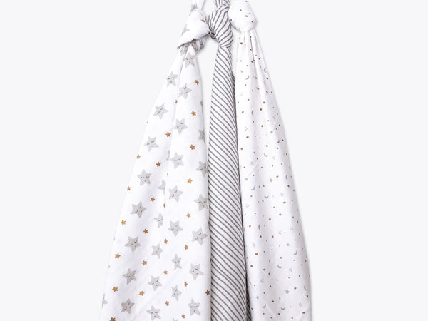 Organic Muslin Swaddles (Set of 3) -Sleepy Star (Metallic)