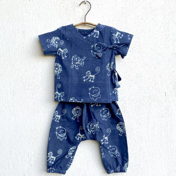 Whitewater Kids Unisex Organic Zoo Print Indigo Angarakha Top + Pants