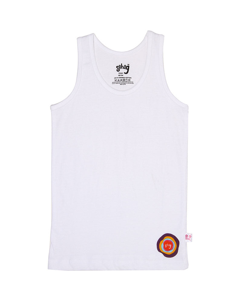 Snhug Sleeveless Pack Of 3 Logo Printed Vest - White