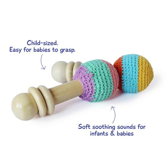 Wooden Non-Toxic Crochet Shaker Rattle Toy (0+ Years) - Discover Sounds and Explore Textures
