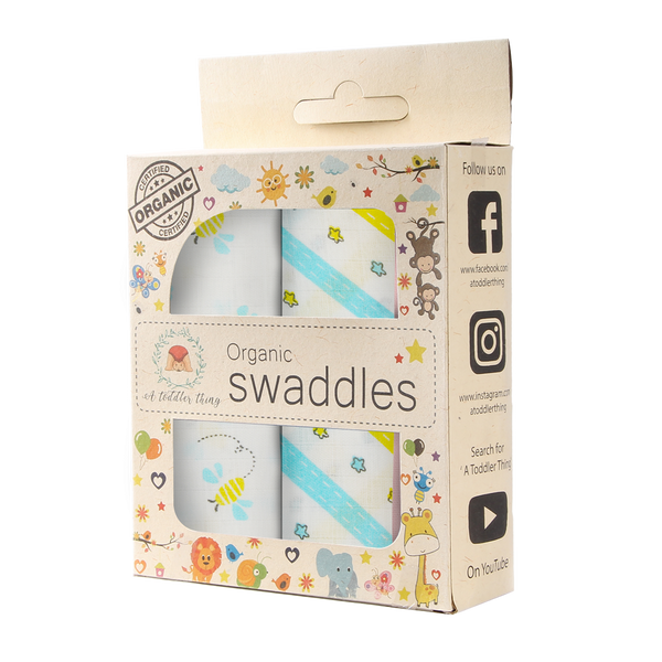 Muslin Cotton Swaddles (Pack of 2) -  Buzzing Bees