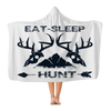 Eat Sleep Hunt-White Premium Adult Hooded Blanket