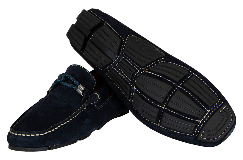 MEN'S BLUE SQUARE TOE LOAFERS