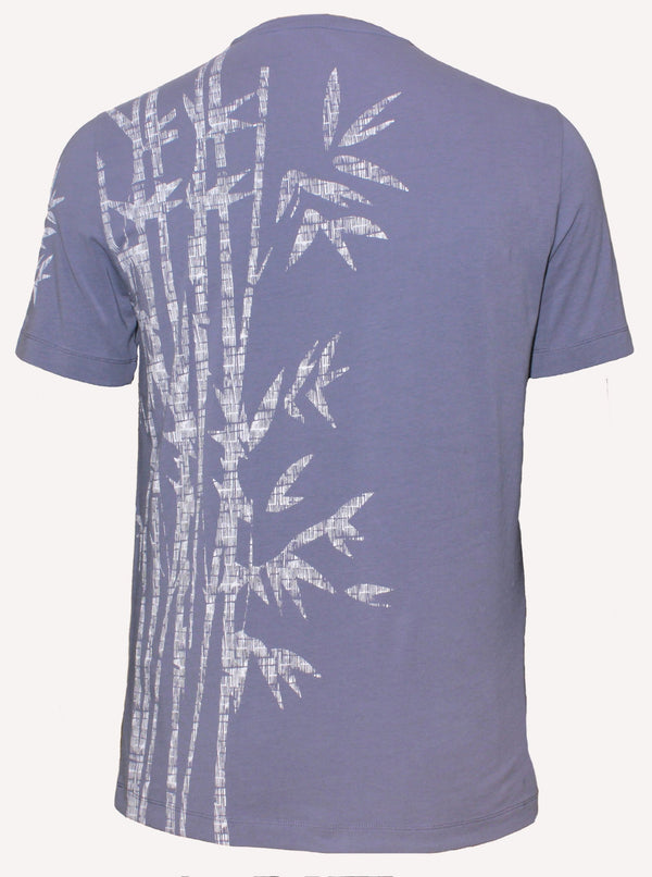 COOL BLUE TWISTED COTTON T-SHIRT WITH DESIGN
