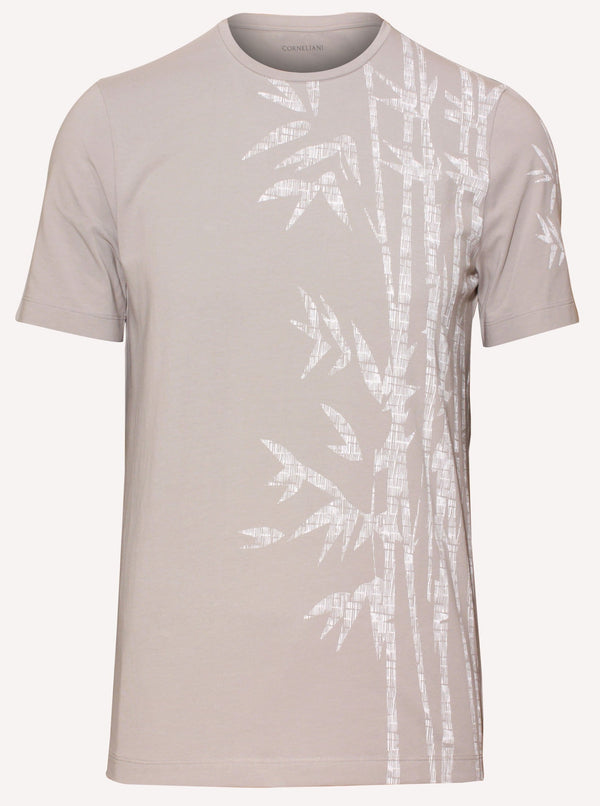 T-shirt in enzyme stretch cotton White print of bamboo leaf