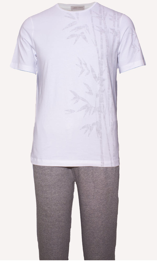 WHITE TWISTED COTTON T-SHIRT WITH DESIGN