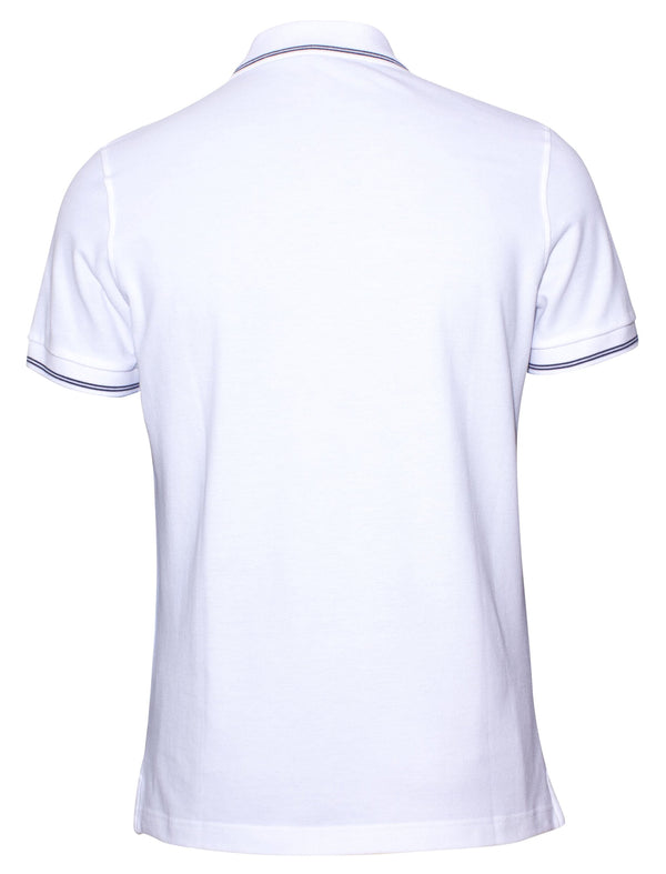 Corneliani mens casual polo shirt in white cotton pique