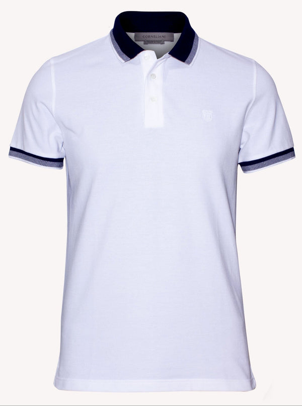 Corneliani White Embroidered with logo Polo T- shirt