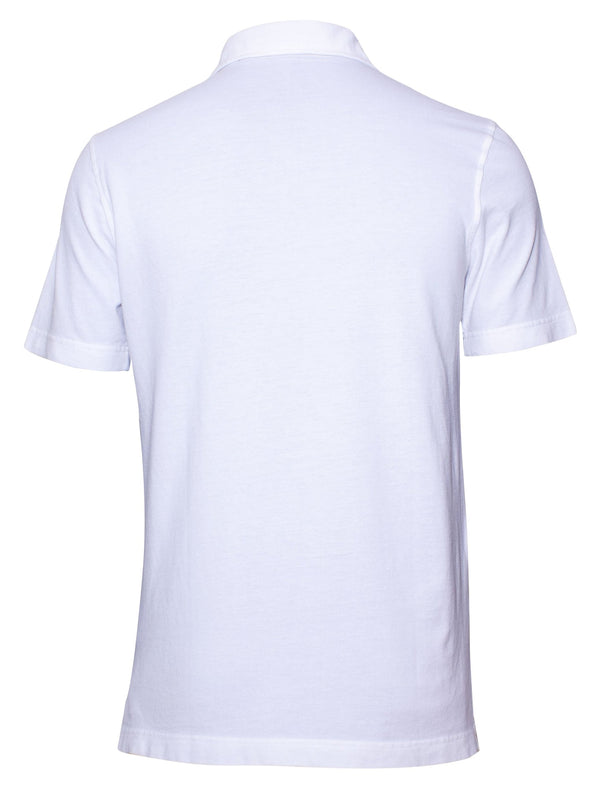 WHITE GARMENT-DYED PIQUÉ POLO SHIRT