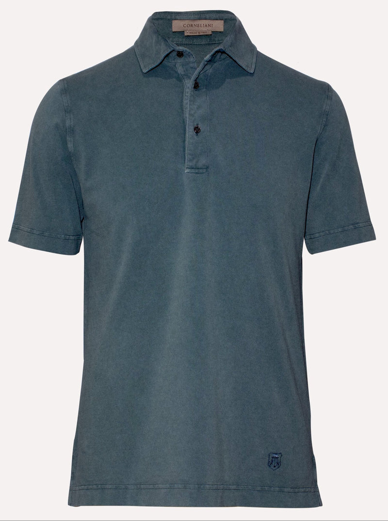 TEAL GARMENT-DYED PIQUÉ POLO SHIRT